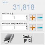 Masa liczba szt i przycisk wydruk